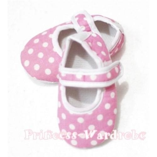 Baby Light Pink White Polka Dot Crib Shoes S104