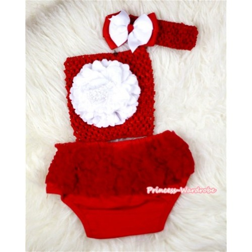 Red Layer Panties Bloomers with White Peony Red Crochet Tube Top and Red White Bow Red Headband 3PC Set CT388