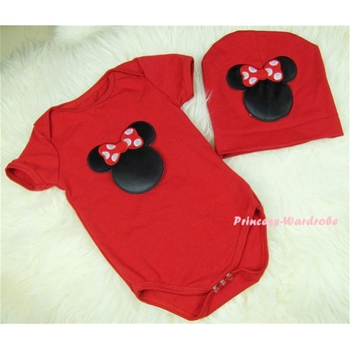 Red Baby Jumpsuit with Minnie Print with Cap Set JP07