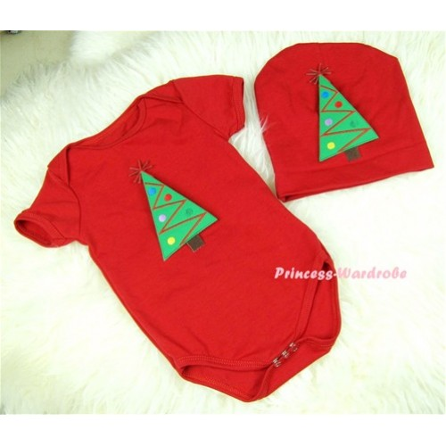 Red Baby Jumpsuit with Christmas Tree Print with Cap Set JP10