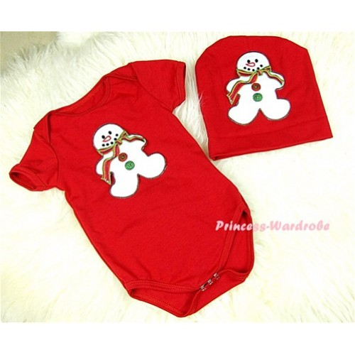 Red Baby Jumpsuit with Christmas Gingerbread Snowman Print with Cap Set JP15