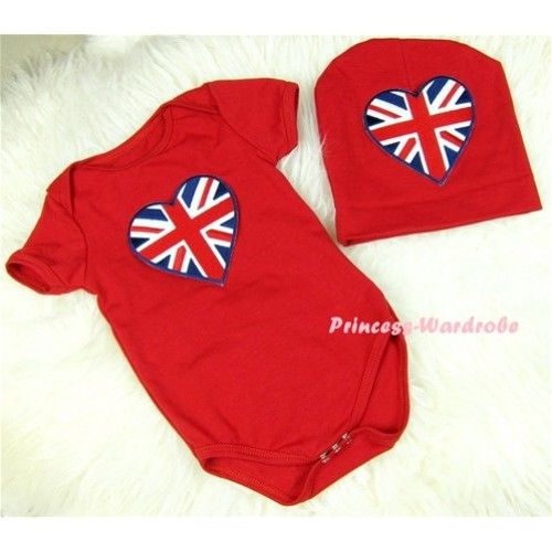 Red Baby Jumpsuit with Patriotic British Heart Print with Cap Set JP16