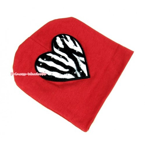 Red Cotton Cap with Zebra Heart Print TH254