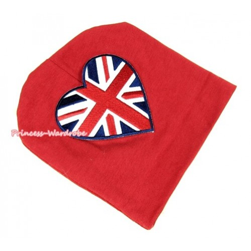Red Cotton Cap with Patriotic Britain Heart Print TH255