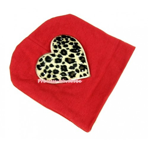 Red Cotton Cap with Leopard Heart Print TH258