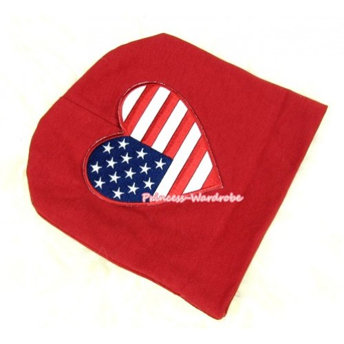 Red Cotton Cap with Patriotic America Heart Print TH260