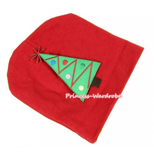 Red Cotton Cap with Christmas Tree Print TH261