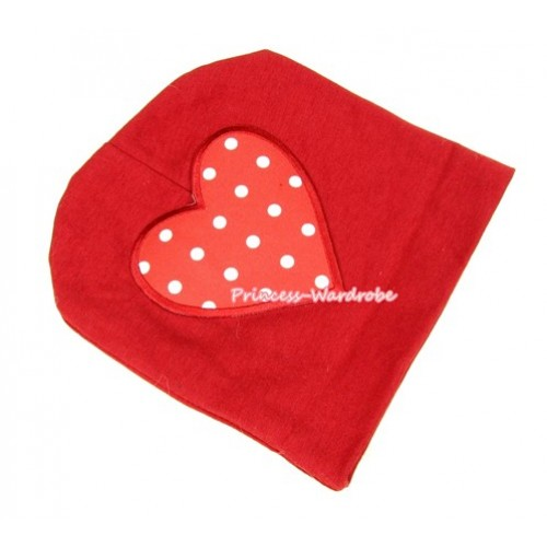 Red Cotton Cap with Red White Polka Dots Heart Print TH262