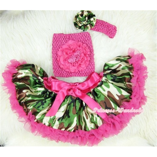 Hot Pink Camouflage Baby Pettiskirt, Hot Pink Peony Hot Pink Crochet Tube Top, Hot Pink Headband Camouflage Print Rose 3PC Set CT390