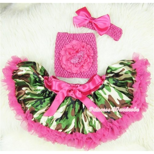 Hot Pink Camouflage Baby Pettiskirt, Hot Pink Peony Hot Pink Crochet Tube Top, Hot Pink Headband Camouflage Print Bow 3PC Set CT391