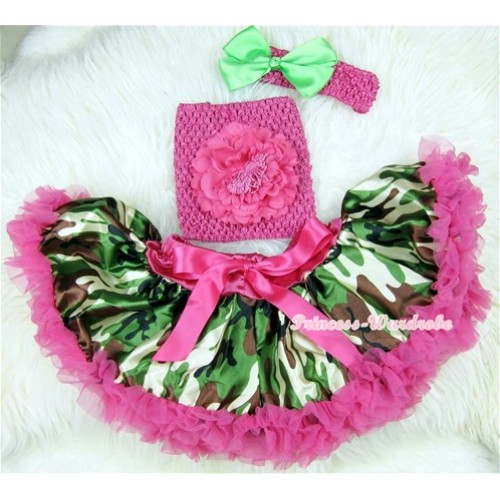 Hot Pink Camouflage Baby Pettiskirt, Hot Pink Peony Hot Pink Crochet Tube Top, Hot Pink Headband Green Bow 3PC Set CT392