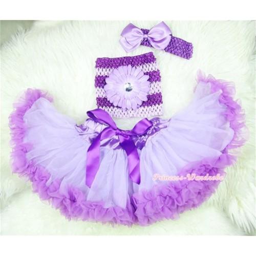 Dark Purple Lavender Baby Pettiskirt, Light Purple Flower Dark Purple Lavender Crochet Tube Top, Lavender Headband Lavender Bow 3PC Set CT394