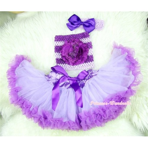 Dark Purple Lavender Baby Pettiskirt, Dark Purple Peony Dark Purple Lavender Crochet Tube Top, Lavender Headband Lavender Bow 3PC Set CT395
