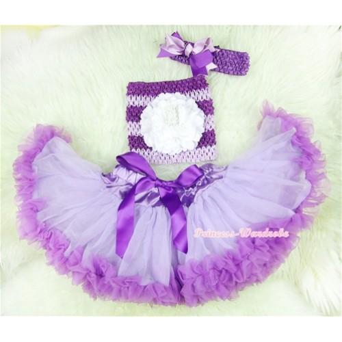 Dark Purple Lavender Baby Pettiskirt, White Peony Dark Purple Lavender Crochet Tube Top, Lavender Headband Dark Purple Lavender Bow 3PC Set CT396