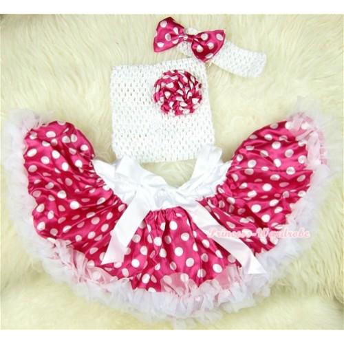Dark Hot Pink White Polka Dots Baby Pettiskirt,Dark Hot Pink White Dots Rose White Crochet Tube Top,White Headband Dark Hot Pink White Polka Dots Bow 3PC Set CT402