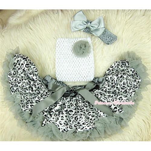 Grey Leopard Baby Pettiskirt,Grey Rose White Crochet Tube Top, Grey Headband Grey Bow 3PC Set CT406