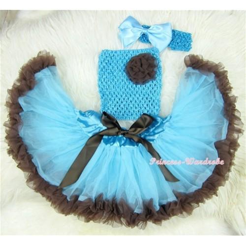Light Blue Brown Mixed Baby Pettiskirt,Brown Flower Light Blue Crochet Tube Top,Light Blue Headband Blue Bow 3PC Set CT412