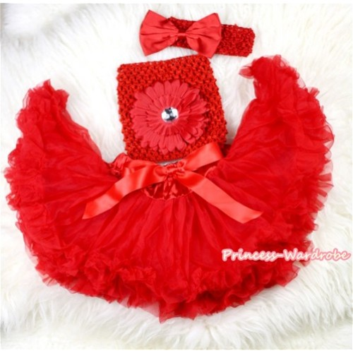 Red Baby Pettiskirt,Red Flower Red Crochet Tube Top,Red Headband Red Bow 3PC Set CT433