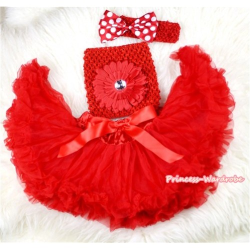 Red Baby Pettiskirt,Red Flower Red Crochet Tube Top,Red Headband Minnie Dots Bow 3PC Set CT434