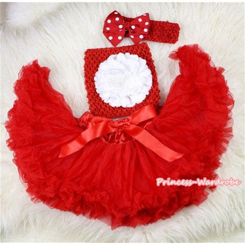 Red Baby Pettiskirt,White Peony Red Crochet Tube Top,Red Headband Minnie Dots Bow 3PC Set CT436
