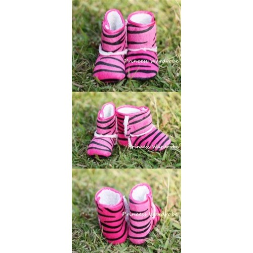 Hot Pink Zebra Print Baby Crib Boots SB02