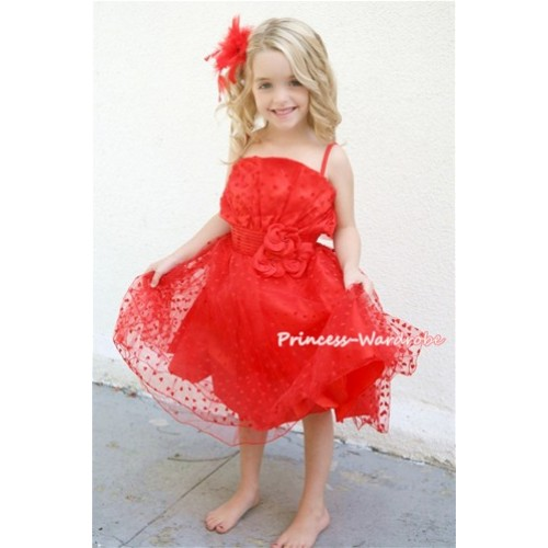 Hot Red Oblique Front Top with Little Heart Wedding Party Dress PD009