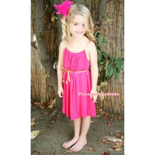 Hot Pink Golden Side with Waistband Party Dress PD015