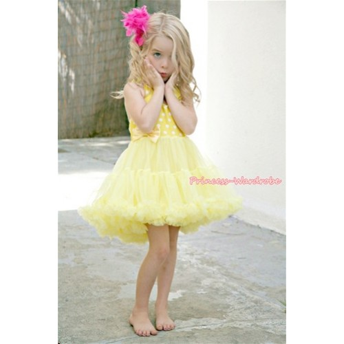 Yellow White Polka Dots ONE-PIECE Petti Dress with Bow LP06