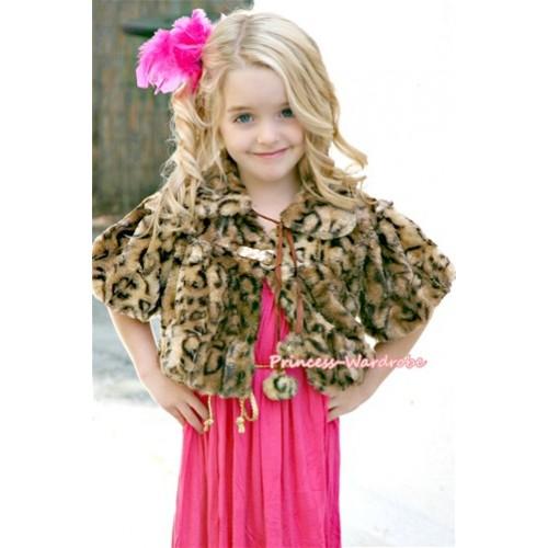 Black Leopard Soft Fur Shawl Coat SH23