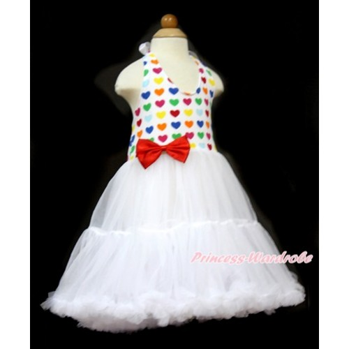 White Rainbow Heart ONE-PIECE Petti Dress with Red Satin Bow LP31