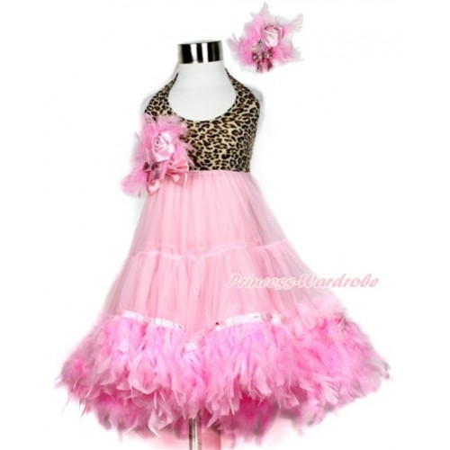 Light Pink Leopard ONE-PIECE Petti Dress with Light Pink Posh Feather & Light Pink Feather Crystal Rose Bow With Accessory 2PC Set LP32