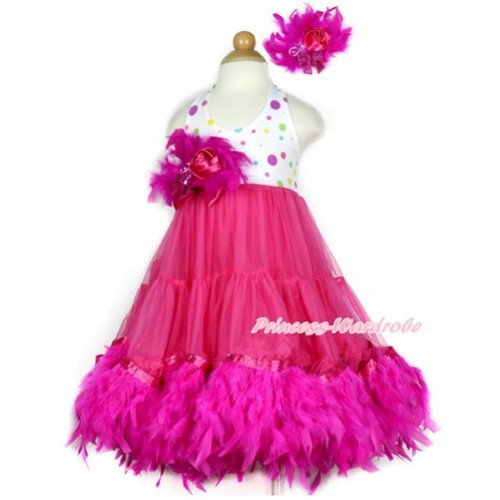 Hot Pink White Rainbow Polka Dots ONE-PIECE Petti Dress with Hot Pink Posh Feather & Hot Pink Feather Crystal Rose Bow With Accessory 2PC Set LP33