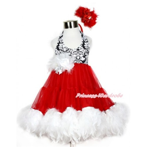 Xmas Hot Red Damask ONE-PIECE Petti Dress with White Posh Feather & White Feather Crystal Rose Bow With Accessory 2PC Set LP34