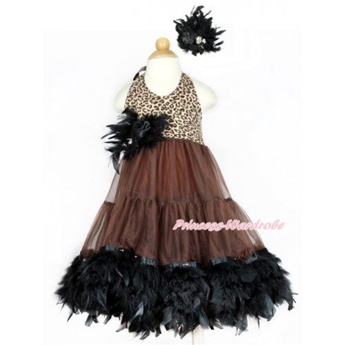 Brown Leopard ONE-PIECE Petti Dress with Black Posh Feather & Black Feather Crystal Rose Bow With Accessory 2PC Set LP35