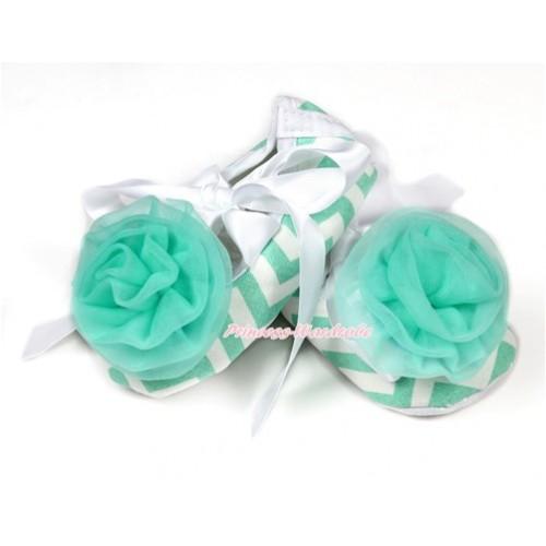 Aqua Blue White Wave Crib Shoes With White Ribbon With Aqua Blue Rosettes S604