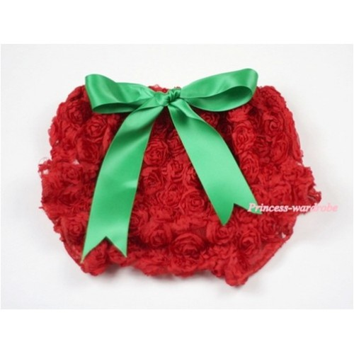 Red Romantic Rose Panties Bloomers with Green Bow BR33