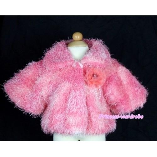 Hot Pink Soft Fur with Hot Pink Rose Shawl Coat SH30