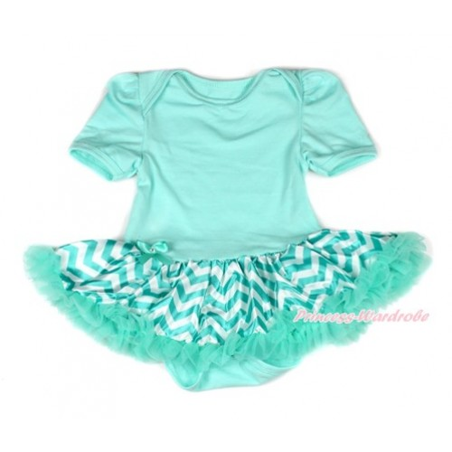 Aqua Blue Baby Bodysuit Jumpsuit Aqua Blue White Wave Pettiskirt JS1843
