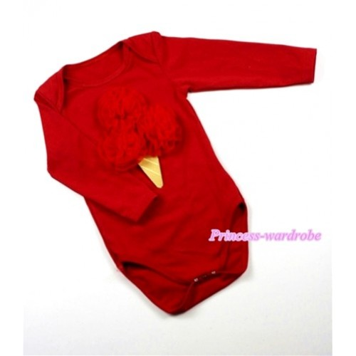 Red Long Sleeve Baby Jumpsuit with Red Rosettes Ice Cream Print LS151