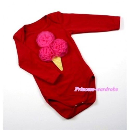 Hot Red Long Sleeve Baby Jumpsuit with Hot Pink Rosettes Ice Cream Print LS152