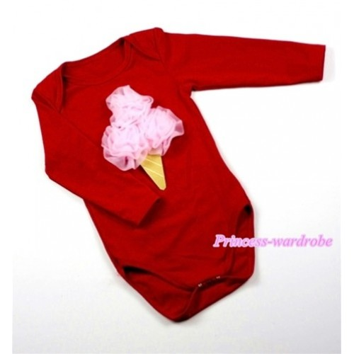 Hot Red Long Sleeve Baby Jumpsuit with Light Pink Rosettes Ice Cream Print LS153