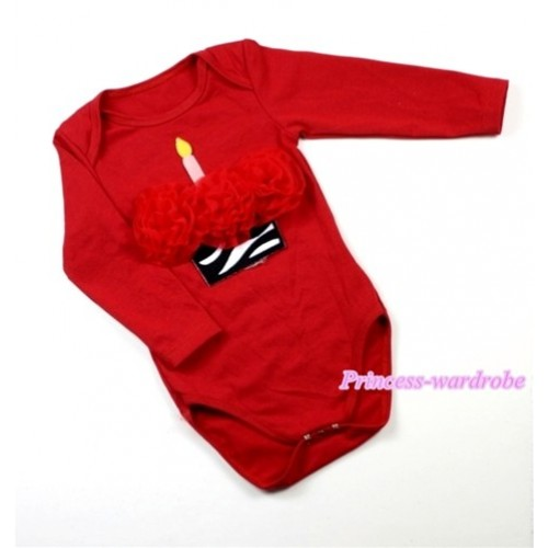 Hot Red Long Sleeve Baby Jumpsuit with Red Rosettes Zebra Birthday Cake Print LS156