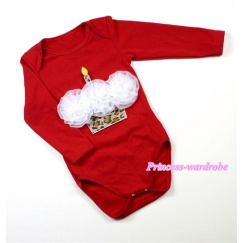 Hot Red Long Sleeve Baby Jumpsuit with White Rosettes Leopard Birthday Cake Print LS159