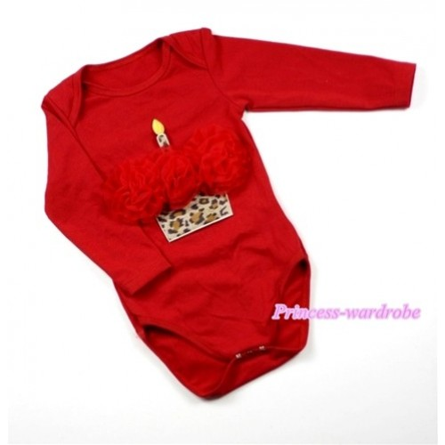 Hot Red Long Sleeve Baby Jumpsuit with Red Rosettes Leopard Birthday Cake Print LS160