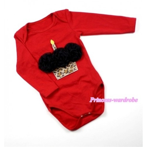 Hot Red Long Sleeve Baby Jumpsuit with Black Rosettes Leopard Birthday Cake Print LS161