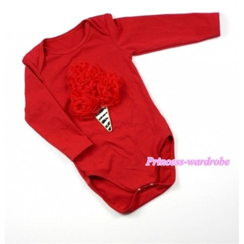 Hot Red Long Sleeve Baby Jumpsuit with Red Rosettes Zebra Ice Cream Print LS163