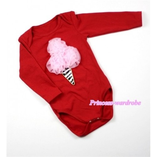 Hot Red Long Sleeve Baby Jumpsuit with Light Pink Rosettes Zebra Ice Cream Print LS166