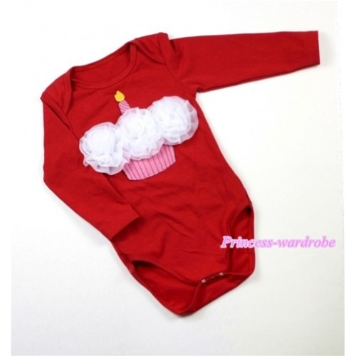 Hot Red Long Sleeve Baby Jumpsuit with White Rosettes Birthday Cake Print LS169