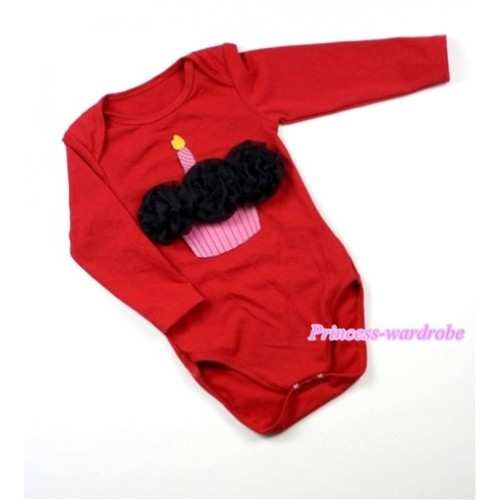 Hot Red Long Sleeve Baby Jumpsuit with Black Rosettes Birthday Cake Print LS170