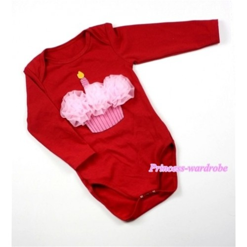 Hot Red Long Sleeve Baby Jumpsuit with Light Pink Rosettes Birthday Cake Print LS171